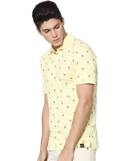 Yellow All Over Print Polo Neck T-shirt