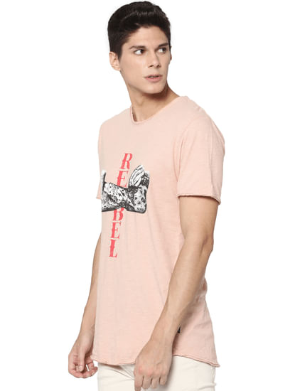 Rose Graphic Print Raw Edge T-shirt