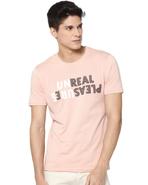 Rose Text Print Crew Neck T-shirt