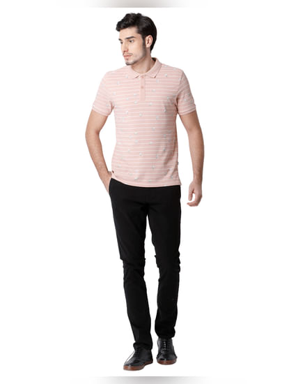 Rose Striped Polo Neck T-shirt