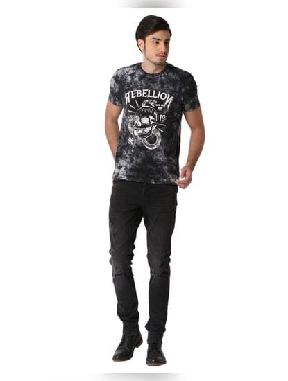 Black Dyed Print Crew Neck T-shirt
