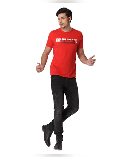 Red Complicated Text Print T-shirt