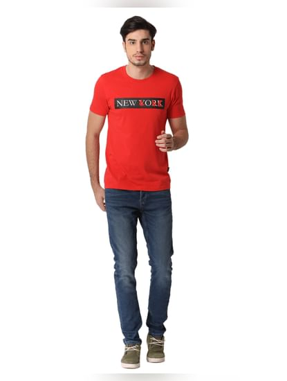 Red New York Text Print T-shirt