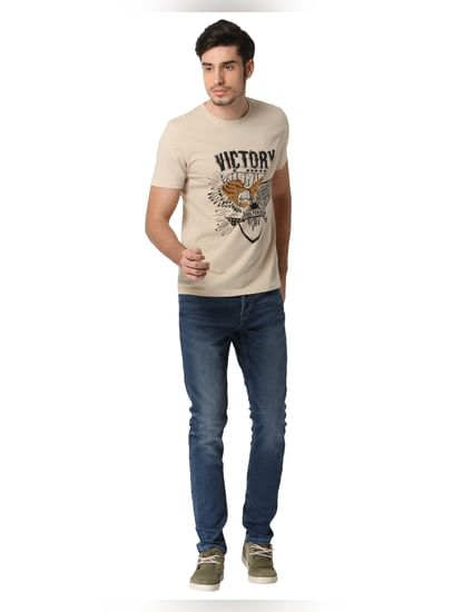 Cream Graphic Print Crew Neck T-shirt