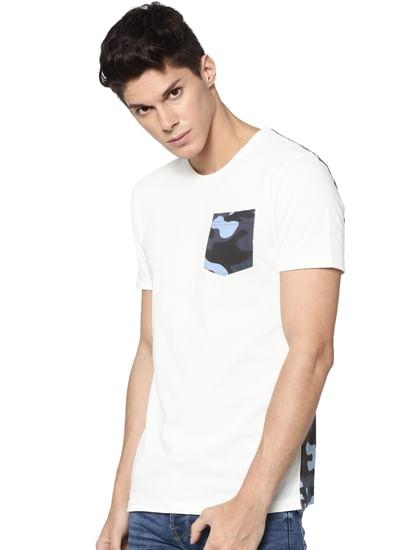 White Camo Print Crew Neck T-shirt