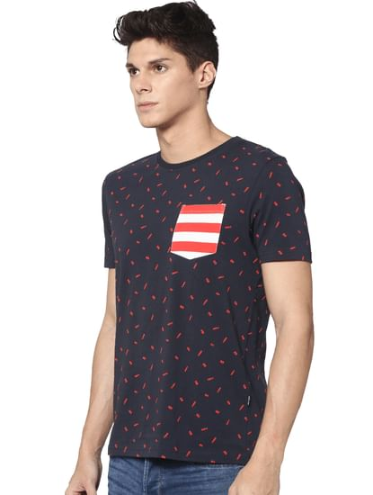 Navy All Over Print Crew Neck T-shirt