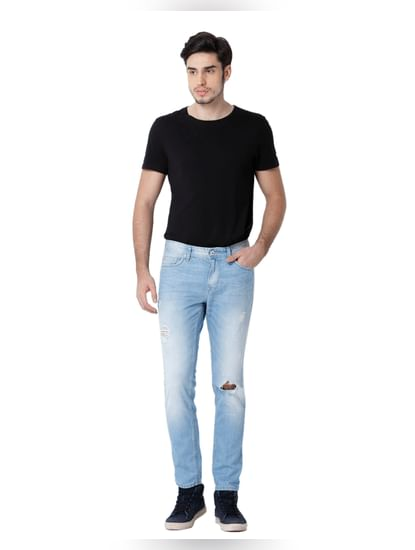 Light Blue Ripped Warp Skinny Fit Jeans