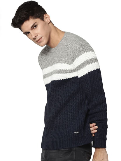 Navy Colour Blocked Pullover