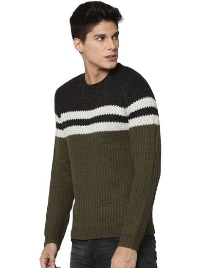 Olive Green Colour Blocked Pullover