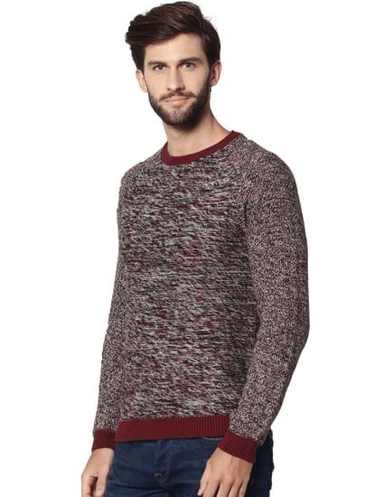 Red Textured Pullover