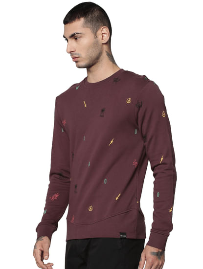 Wine All Over Print Sweatshirt