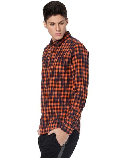 Orange Check Full Sleeves Shirt