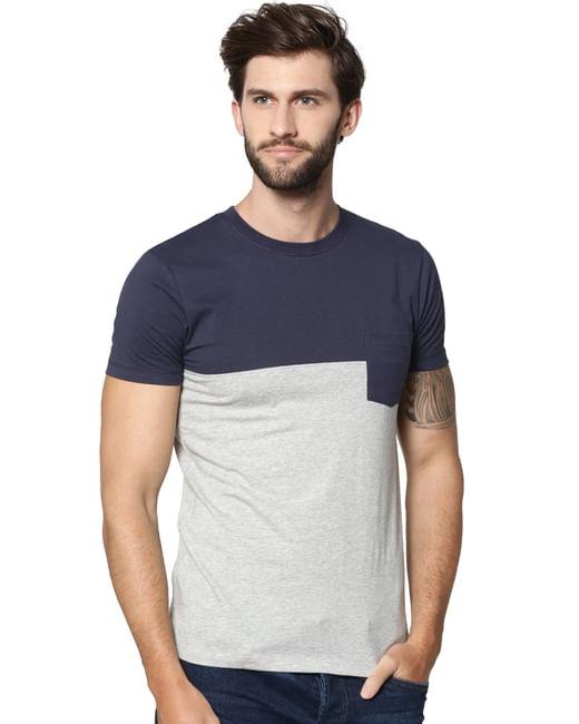 Light Grey Colour Blocked T-shirt