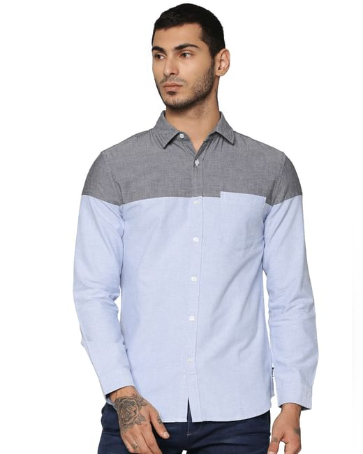 Blue Colour Blocked Full Sleeves Shirt