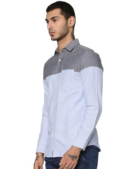Blue Colour Blocked Full Sleeves Shirt