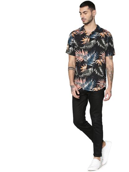 Black Printed Short Sleeves Shirt
