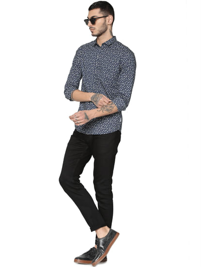 Navy All Over Print Full Sleeves Shirt