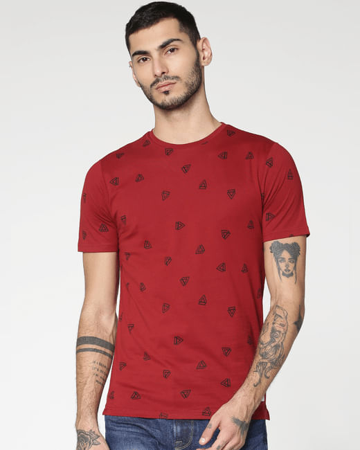 Red All Over Print Crew Neck T-shirt