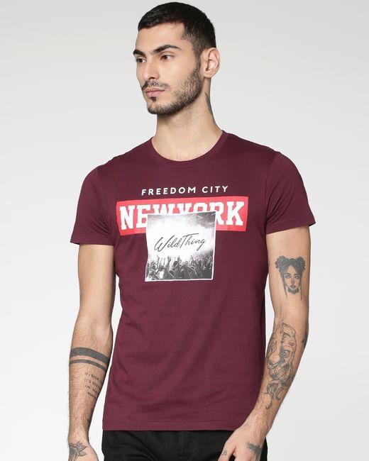 Burgundy Graphic Print Crew Neck T-shirt