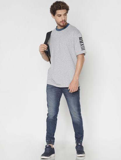 Grey Contrast Sleeve Crew Neck T-shirt
