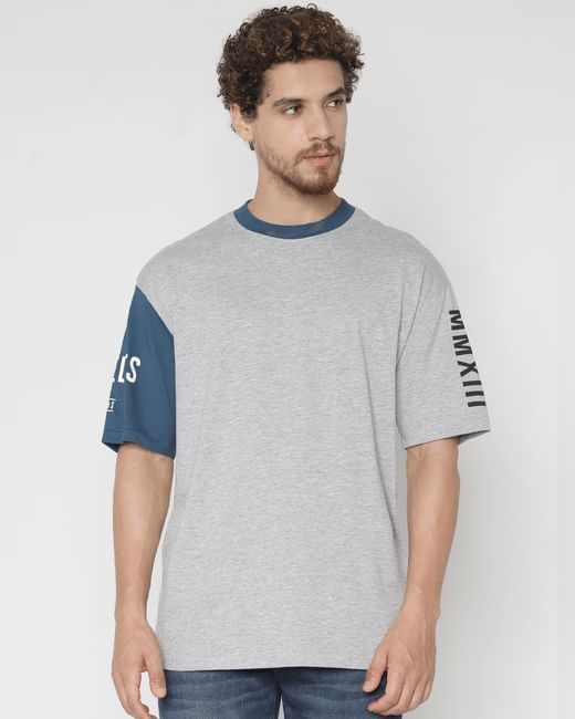 Grey Contrast Sleeve Crew Neck T-shirt
