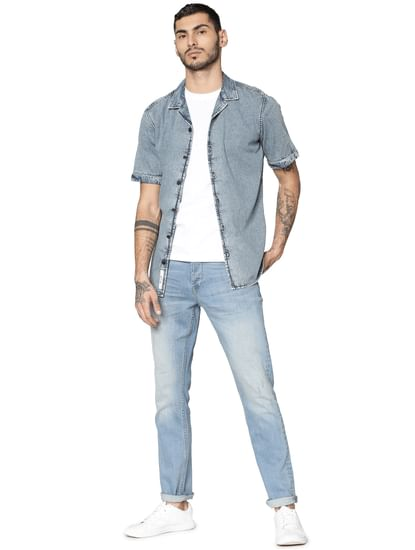 Blue Denim Short Sleeves Shirt