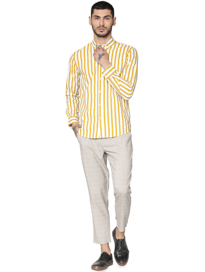 Yellow Striped Full Sleeves Shirt