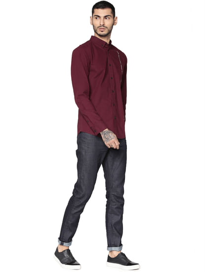 Burgundy Full Sleeves Shirt