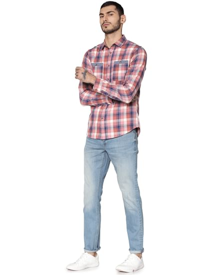Pink Check Full Sleeves Shirt