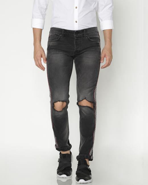 Black Tape Detail Ripped Slim Jeans