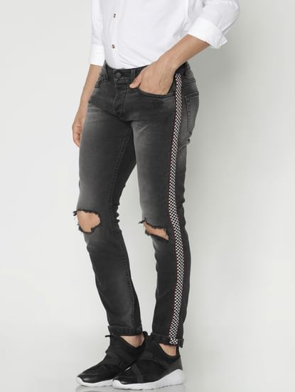Black Tape Detail Ripped Slim Jeans