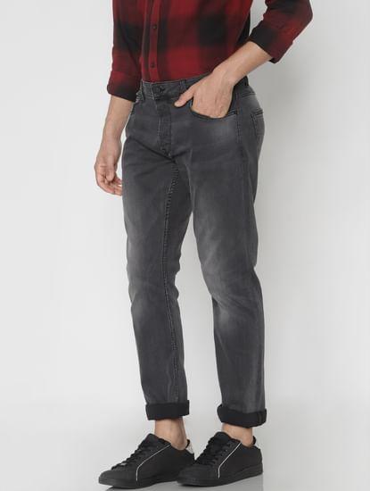 Dark Grey Faded Regular Fit Jeans