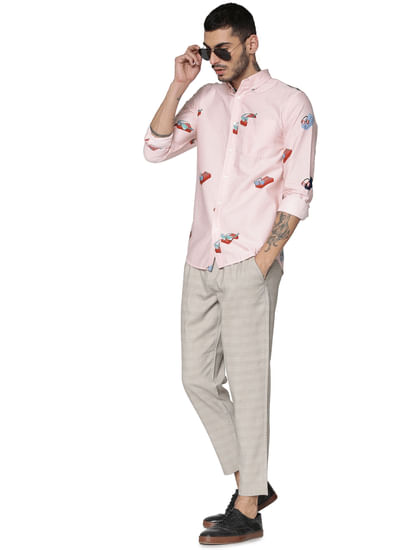 Pink All Over Print Full Sleeves Shirt