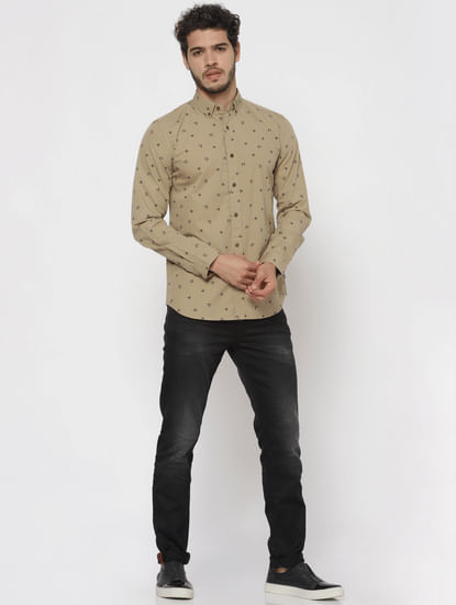 Brown All Over Print Full Sleeves Shirt
