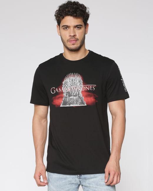 Black Iron Throne Print Crew Neck T-shirt
