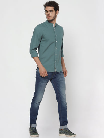 Teal Full Sleeves Linen Shirt