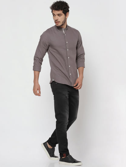 Grey Linen Full Sleeves Shirt