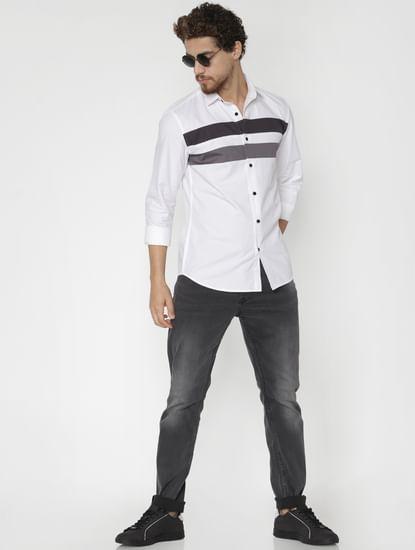 White Band Print Full Sleeves Shirt