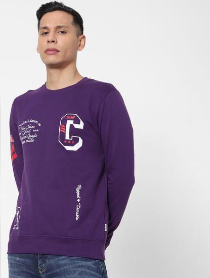 Purple Text Print Sweatshirt