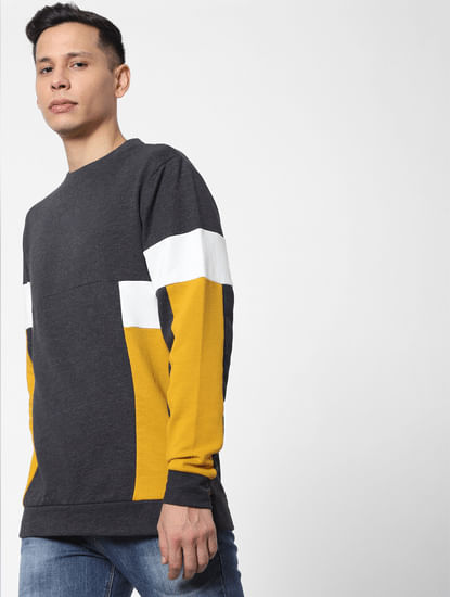 Grey colourblocked Sweatshirt