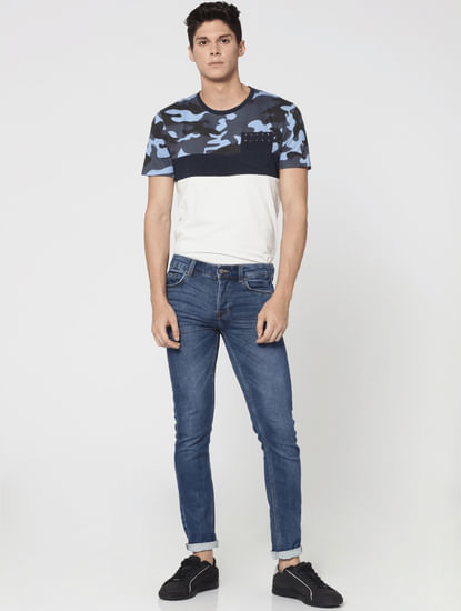 Blue Mid Rise Spun Regular Fit Jeans