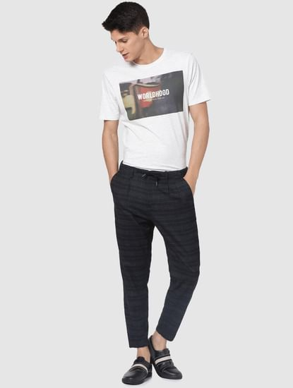 Navy Blue Mid Rise Check Pants