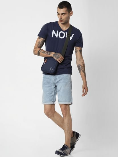 Blue Mid Rise Washed Denim Shorts