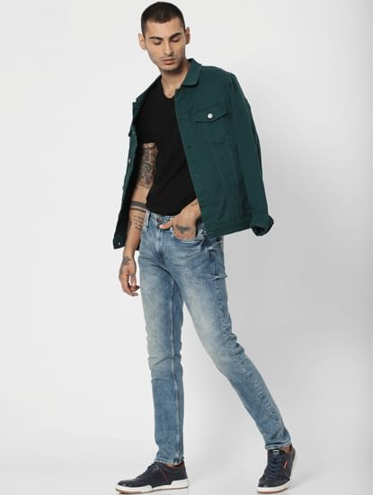 Blue Mid Rise Weft Regular Fit Jeans