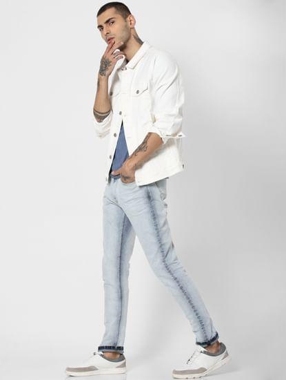 Light Blue Mid Rise Weft Regular Fit Jeans