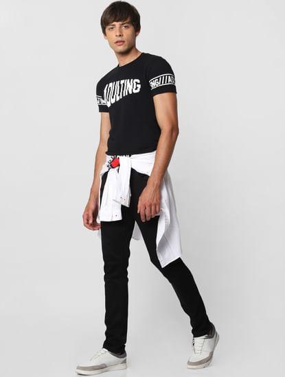 Black Mid Rise Loom Slim Fit Jeans