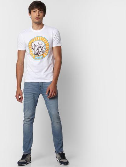 Blue Mid Rise Loom Slim Fit Jeans