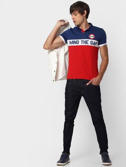 Red Colourblocked Polo Neck T-shirt