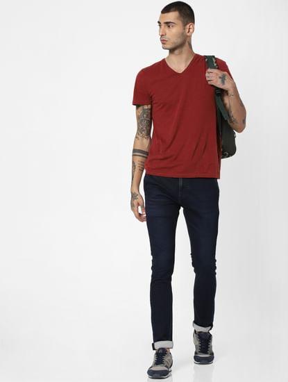 Dark Blue Mid Rise Loom Slim Fit Jeans