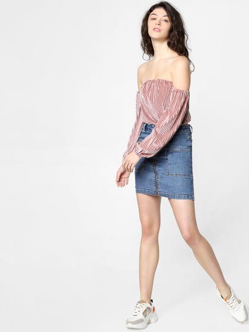 Pink Off-Shoulder Cropped Top